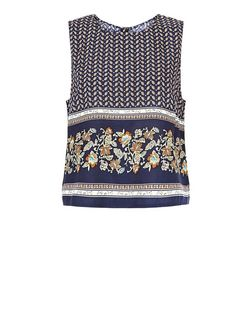 Brave Soul Blue Tile Print Sleeveless Top | New Look