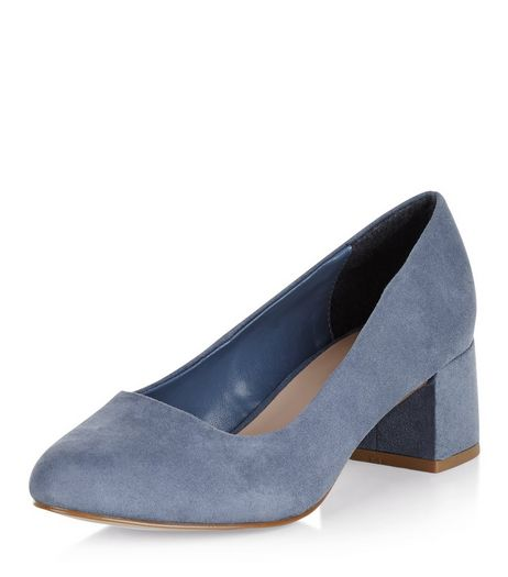 Wide Fit Pale Blue Suedette Court Shoes  | New Look