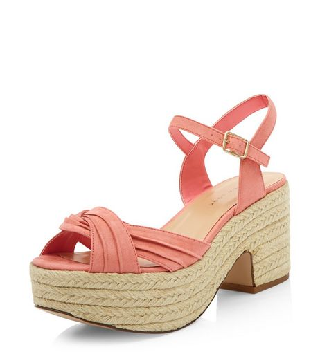 Wide Fit Coral Twist Strap Espadrille Sandals  | New Look