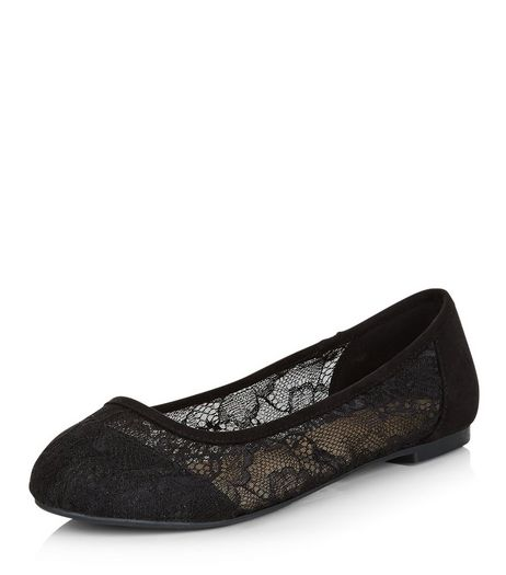 Wide Fit Black Lace Ballet Pumps  | New Look
