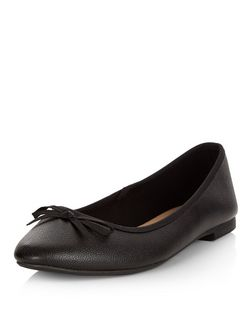 Wide Fit Black Leather-Look Ballet Pumps | New Look