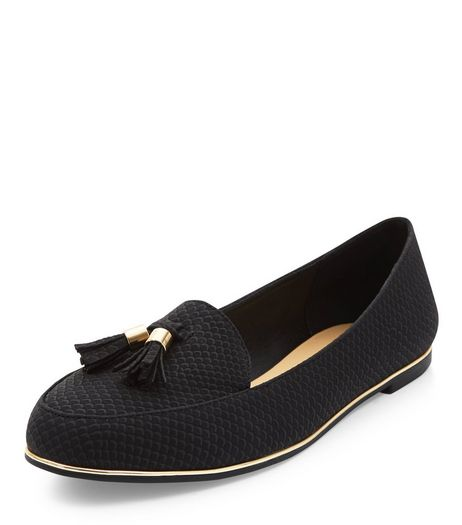 Black Textured Tassel Metal Trim Loafers  | New Look