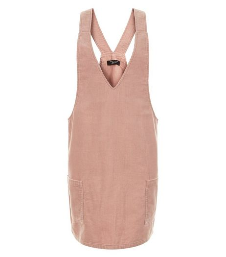 Teens Mid Pink Cord Pinafore Dress | New Look