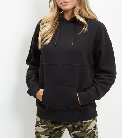 Black Seam Trim Oversized Hoodie  | New Look