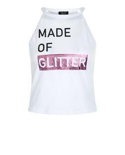 Teens White Made of Glitter Print Foil Cami  | New Look
