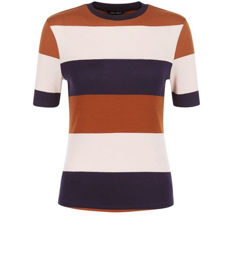 Brown Colour Block Stripe 1/2 Sleeve Top | New Look