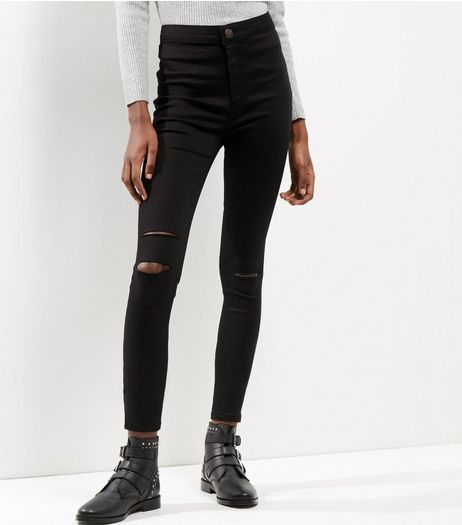 Black Ripped Knee High Waist Super Skinny Hallie Jeans | New Look
