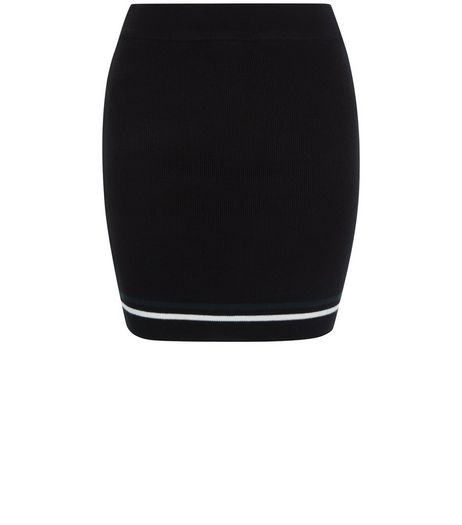 Teens Black Stripe Trim Knitted Tube Skirt | New Look