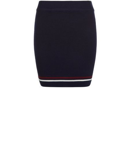 Teens Navy Stripe Trim Knitted Tube Skirt | New Look