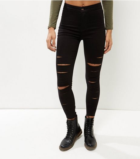Black Extreme Ripped High Waist Super Skinny Jeans | New Look
