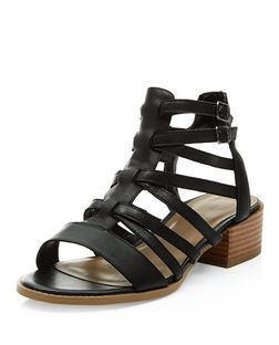 Black Leather Cross Strap Gladiator Sandals  | New Look