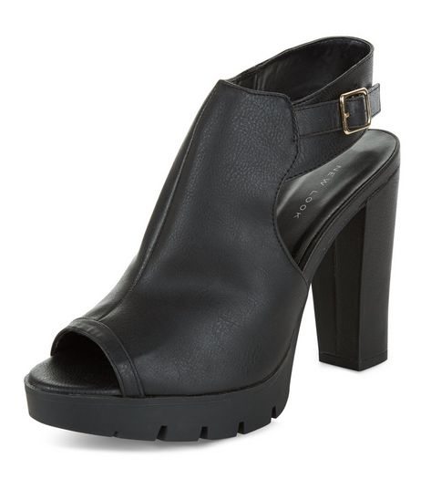 Black Peep Toe Sling Back Block Heels  | New Look