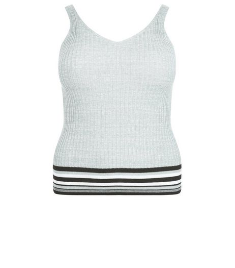 Curves Green Stripe Trim Ribbed Vest | New Look