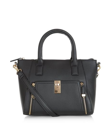 Black Zip Pocket Structured Bag | New Look