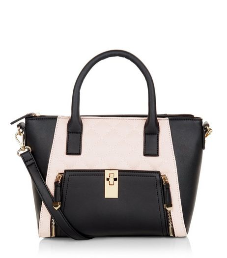 Pink Colour Block Zip Pocket Structured Bag | New Look