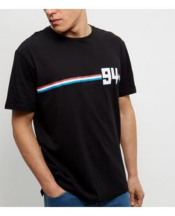 Black Stripe 94 Print T-Shirt | New Look