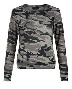 Petite Green Camo Print Sweater  | New Look