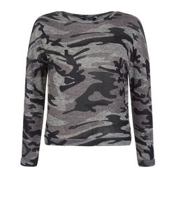 Teens Khaki Camo Print Sweater | New Look