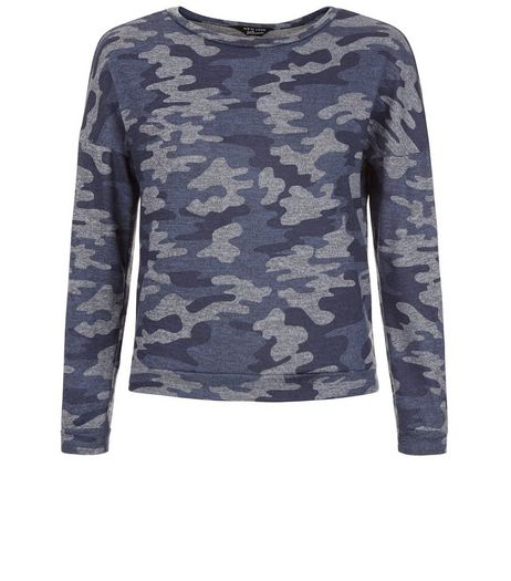 Teens Blue Camo Print Jumper  | New Look