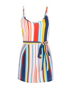 Petite Multicoloured Stripe Belted Playsuit | New Look