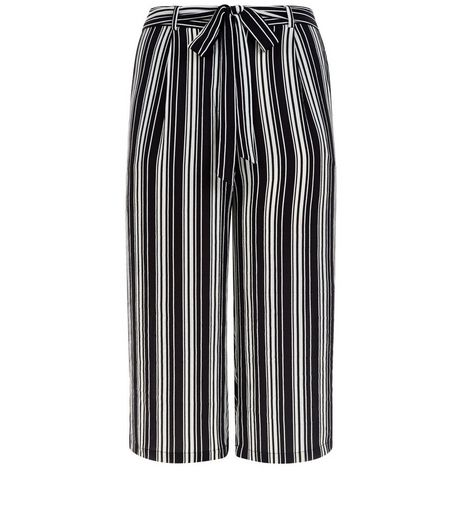 Curves Black Stripe Belted Trousers | New Look