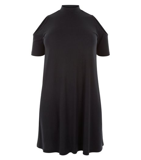 Curves Black Cold Shoulder Swing Dress | New Look