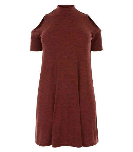 Curves Dark Red Cold Shoulder Swing Dress | New Look