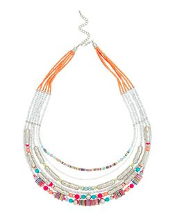 Multicoloured Layered Sequin Necklace | New Look