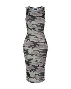 Petite Green Camo Print Sleeveless Dress | New Look