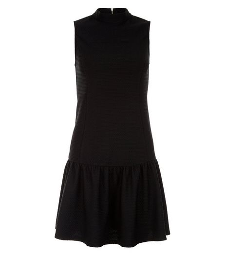 Petite Black Funnel Neck Peplum Hem Dress | New Look
