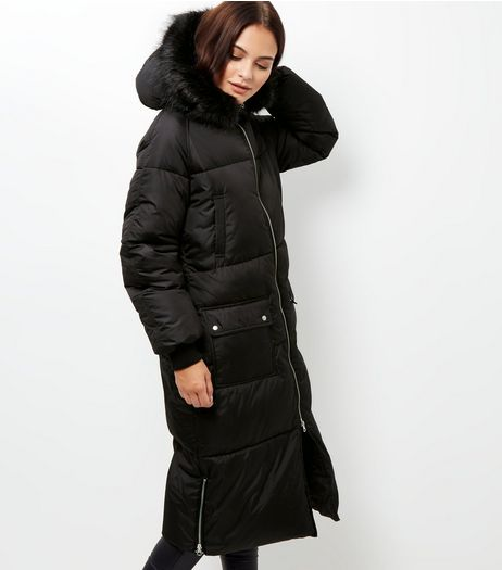 Tall Black Faux Fur Trim Hooded Longline Coat | New Look