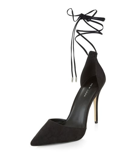 Black Suedette Tie Ankle Strap Pointed Heels  | New Look
