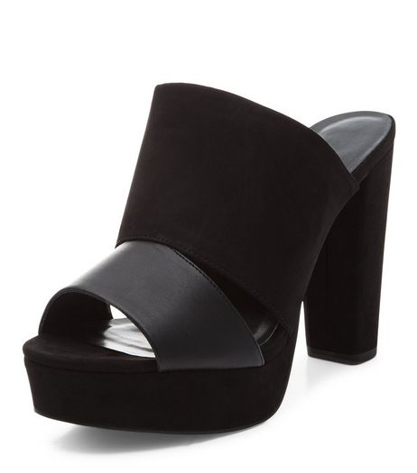 Black Contrast Double Strap Peep Toe Mules  | New Look