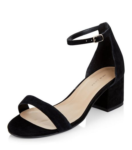 Black Leather Block Heel Sandals  | New Look