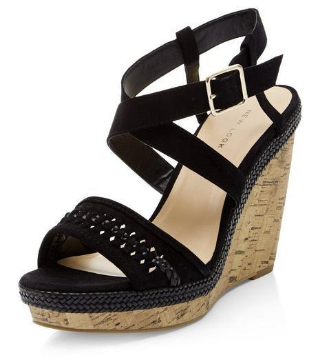 Black Suedette Woven Strap Wedges  | New Look
