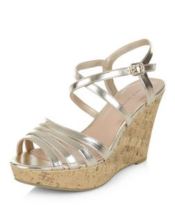 Gold Multi Strap Cork Wedges  | New Look