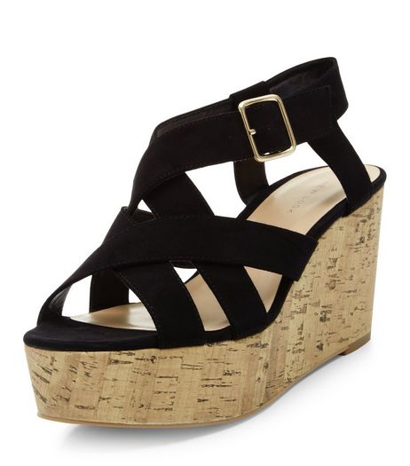 Black Suedette Cross Strap Cork Platform Wedge Sandals  | New Look