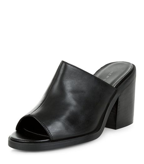 Black Leather Peep Toe Block Heel Mules  | New Look