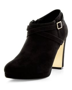 Black Suedette Metal Trim Block Heel Shoe Boots  | New Look