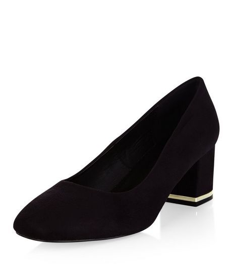 Black Suedette Metal Trim Court Shoes  | New Look