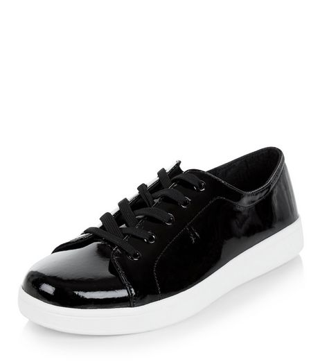 Black Patent Lace Up Plimsolls  | New Look