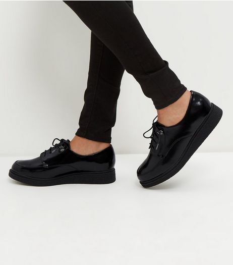 Black Leather-Look Lace Up Creepers | New Look
