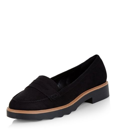 Black Contrast Trim Loafers  | New Look