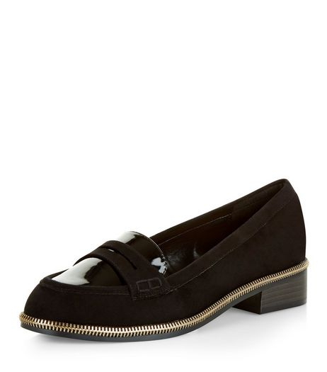 Black Zip Trim Loafers  | New Look