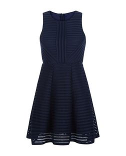 AX Paris Navy Ladder Skater Dress | New Look