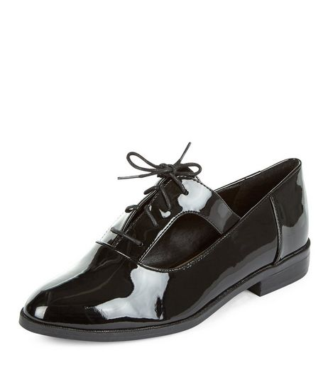 Teens Black Cut Out Lace Up Shoes | New Look