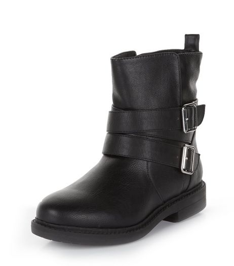 Teens Black Leather-Look Strappy Biker Boots | New Look