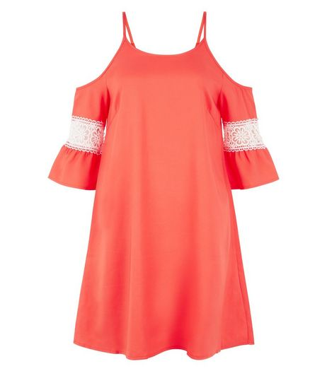 AX Paris Coral Cold Shoulder Swing Dress | New Look