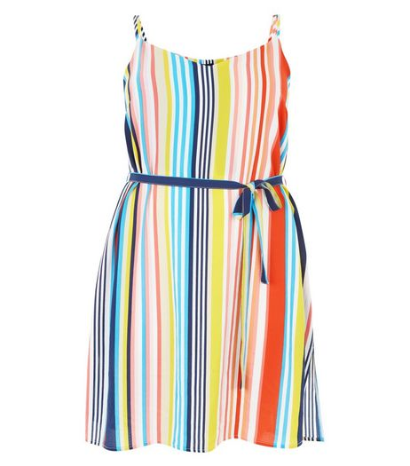 Curves Multicoloured Stripe Slip Dress | New Look