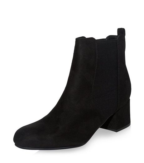 Teens Black Suedette Block Heel Chelsea Boots | New Look